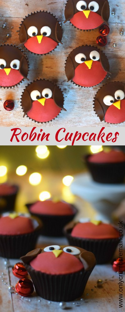 How to make easy Christmas Robin Cupcakes with fondant applied to a chocolate orange cupcake.