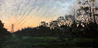 Oil painting landscape of transmission towers and trees at sunrise in Austin Texas by artist David Borden.