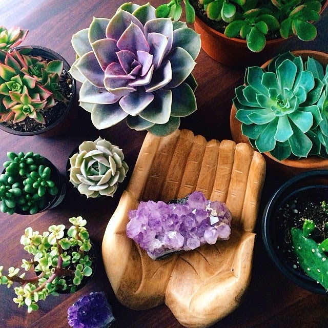 Pantone Color of the Year 2018 Ultra Violet Amethyst Crystals Succulents Hand Sculptures