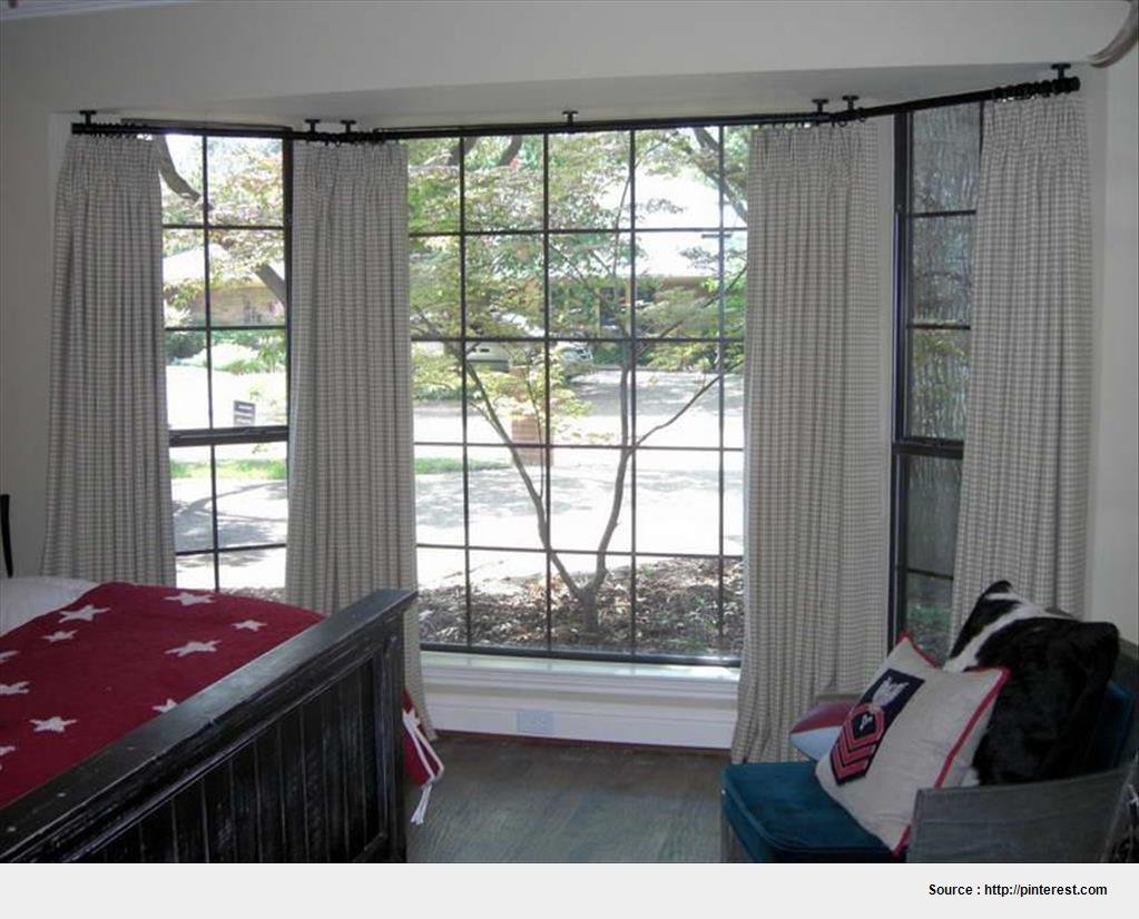 Best ceiling-mounted curtain rods for bay windows wallpaper