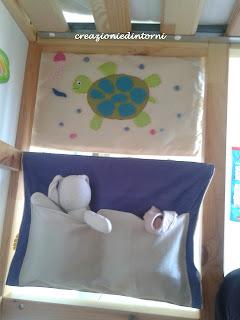 tortue en feutrine sur panneau decoratif d'interieur
