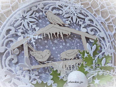 Bombkowa kartka z ptaszkami