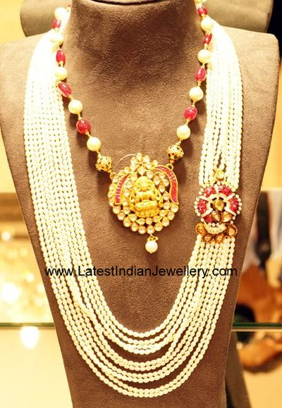 Pearls Mala with Ruby Mugappu