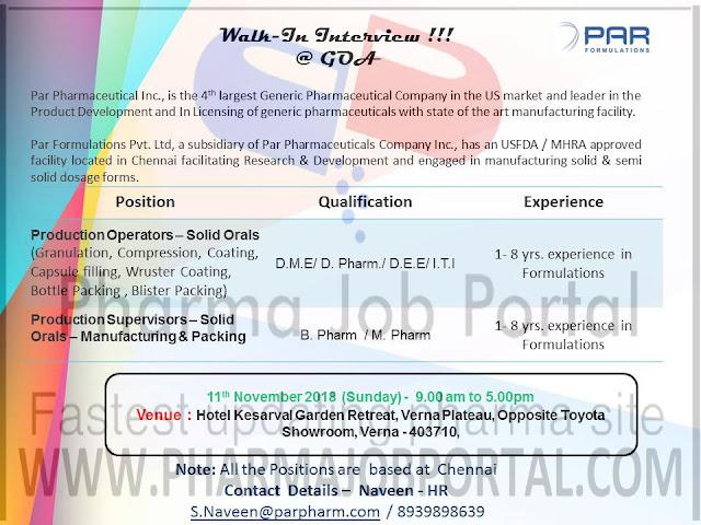 PAR Formulations Pvt. Ltd  Walk-In Interviews for  D.Pharma, ITI, B.Pharm, M.Pharm at 11 November & 18 November