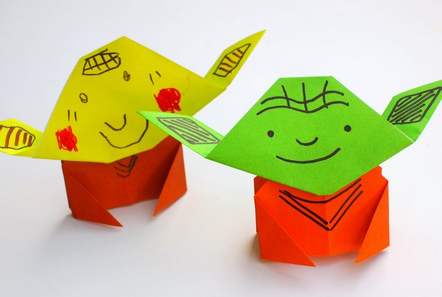 Instruction showing how to fold a super easy origami Yoda Tutorial- Great kids craft for all ages