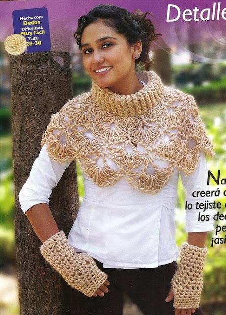 Bufanda-Cuello Alto con Diferentes Tamaños de Ganchos
