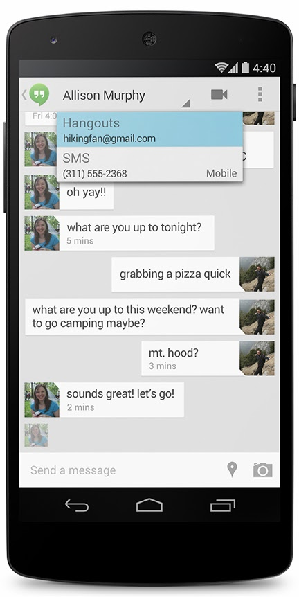 New Hangouts app with SMS integration