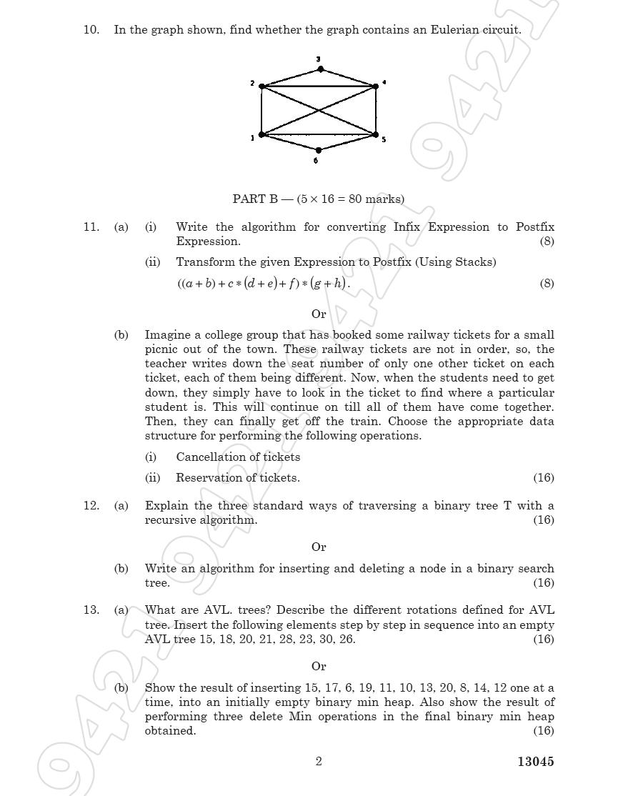 CS2201 Data Structures Nov Dec 2011 Question Paper