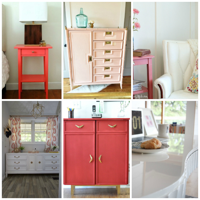 furniture bloggers, repurposing furniture, favorite colors for furniture, paint colors for furniture, favorite paint colors, pink furniture, white furniture, coral furniture