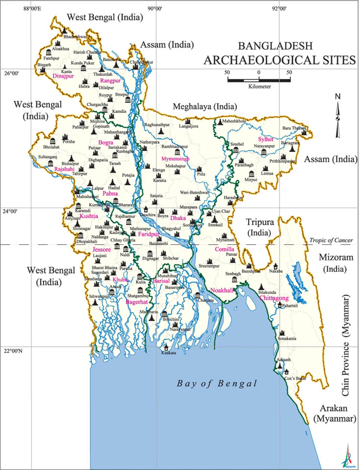 Archaeological Sites Map Bangladesh