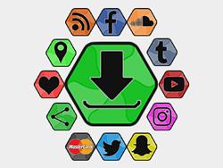 Hexagon Shades Social Buttons