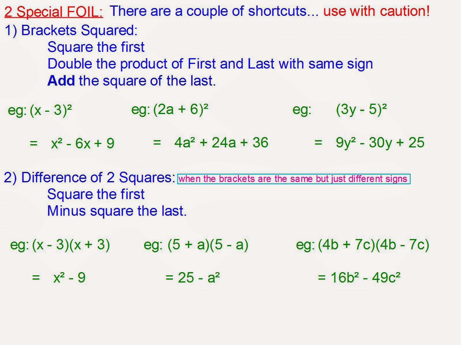 Mr Rouche S Maths Expanding 2 Brackets Shortcuts