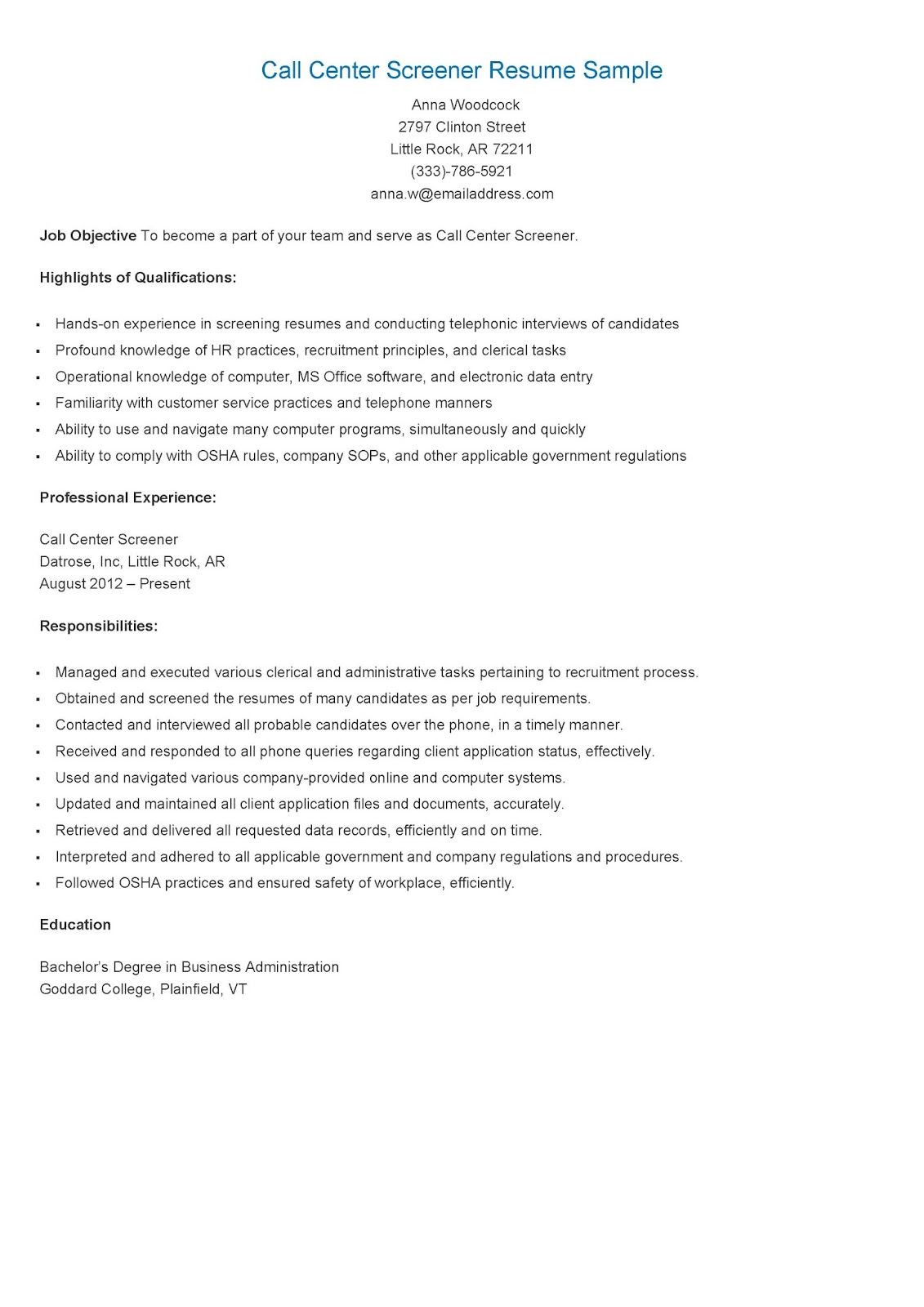 call center cover letter examples
