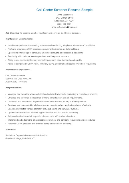 resume samples call center screener resume sample