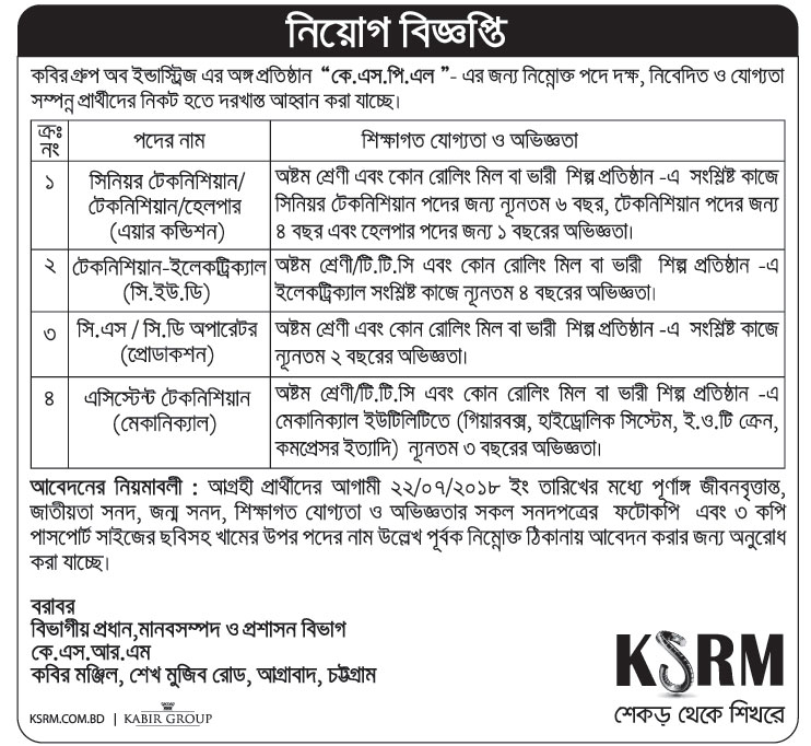 Kabir Group of Industries KSPL Job Circular 2018