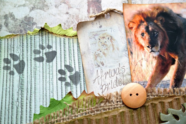 Stenciled Big Cat Lion Footprints on a Nature Scrapbook Page by Dana Tatar