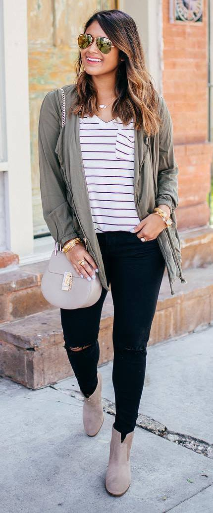 cute casual outfit idea: cardi + top + bag + rips + boots