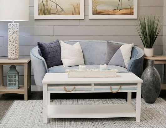 Coastal Style Coffee Table Blue White with Rope Handles
