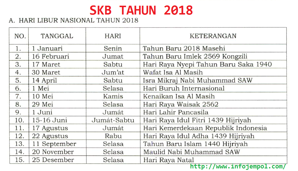 SKB Cuti Bersama Tahun 2018