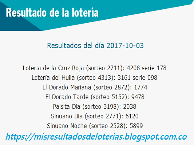Como jugo la lotería anoche | Resultados diarios de la lotería y el chance | resultados del dia 03-10-2017