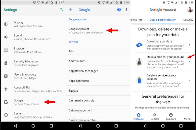 حذف حساب جوجل تلقائيا من الهاتف
