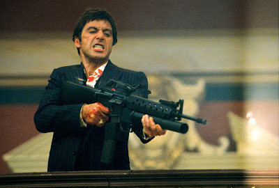 Al pacino in scarface bloody finale, 1983, tony montana, talk to my little friend, directed by Brian De Palma