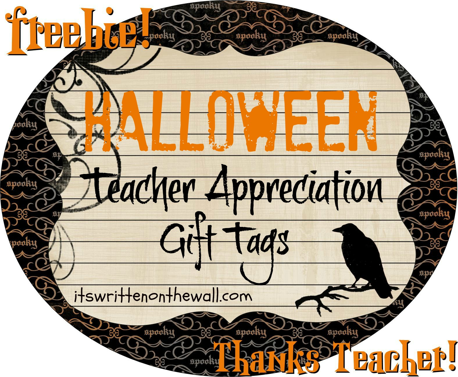 Freebie Halloween Teacher Appreciation T Tags Notes