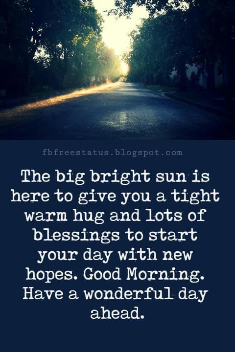 Good Morning Text Messages, The big bright sun is here to give you a tight warm hug and lots of blessings to start your day with new hopes. Good Morning. Have a wonderful day ahead.