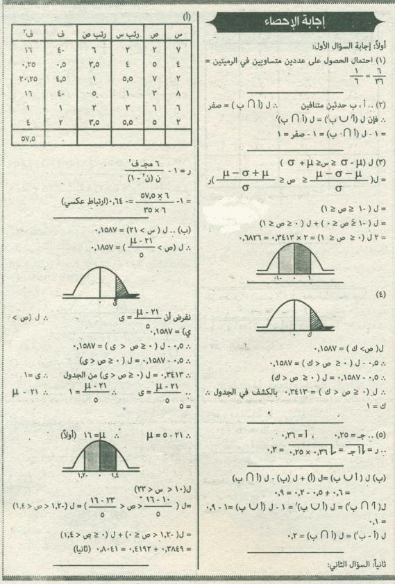 """امتحان الاحصاء 2016 للثانوية العامة بـ""""السودان"""" + نموذج الاجابة 0%2B%25283%2529"""