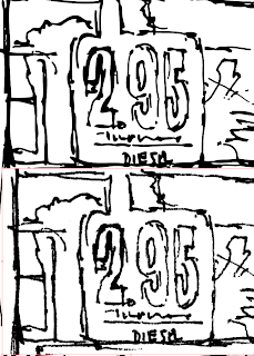Comparison of raster scan of drawing to vector drawing. Gas pump drawing.