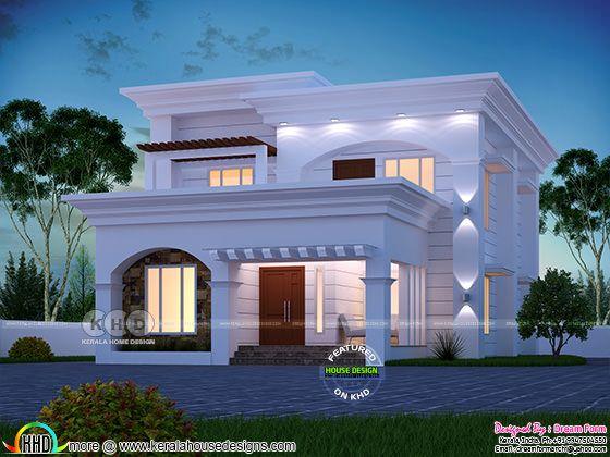 Elegant and beautiful flat roof modern home