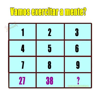 Desafio - Vamos exercitar a mente? Qual número está faltando?