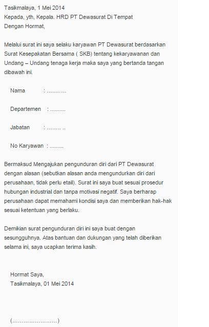 15 Free Download Contoh Surat Resign Dengan Alasan Hamil Format Doc
