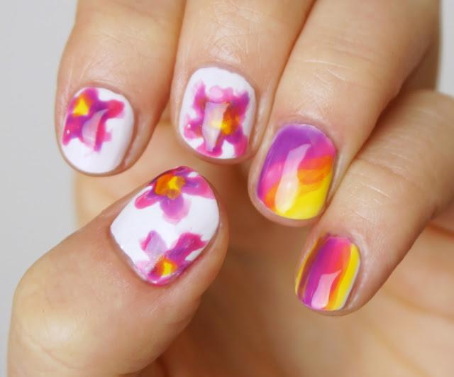 Essie - Silk Watercolor (Swept Away - Set) Nail Art, Blumen, Flowers, Regenbogen, Rainbow