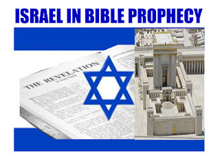 a graphic by Erika Grey of Israel in Bible Prophecy, which is set against the flag of Israel and above the Israeli flag is the title in large blue capital letters Israel in Prophecy.  In the center of the flag is the opening page of the book of Revelation and it reads, The Revelation and  next to the Israeli star that is on the flag of Israel is a model of the second Jewish temple The book of Revelation is set between the star and the underlying fabric and the second Jewish temple model rests on top of the flag and the Bible.