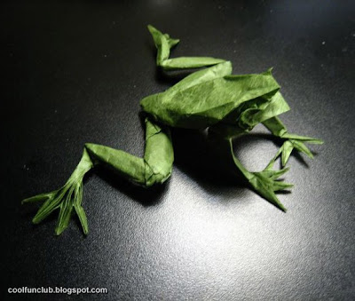 Rana hecha de papel -Papiroflexia u origami