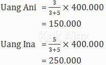 Cara menentukan uang Ani dan uang Ina yang mempunyai perbandingan 3 : 5