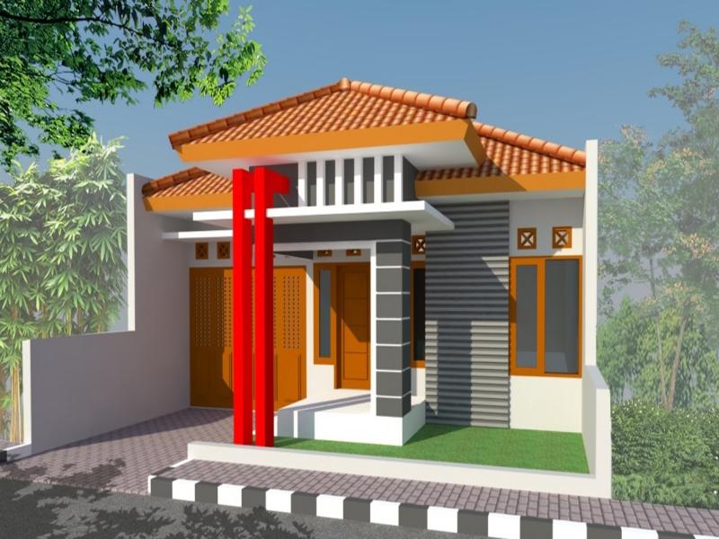 Teras rumah minimalis type 45 dengan atap limas