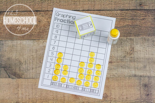 graphing fractions math worksheet for kindergarten, first grade, 2nd grade