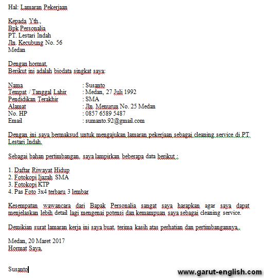 Surat Lamaran Kerja Cleaning Service Info Kerja
