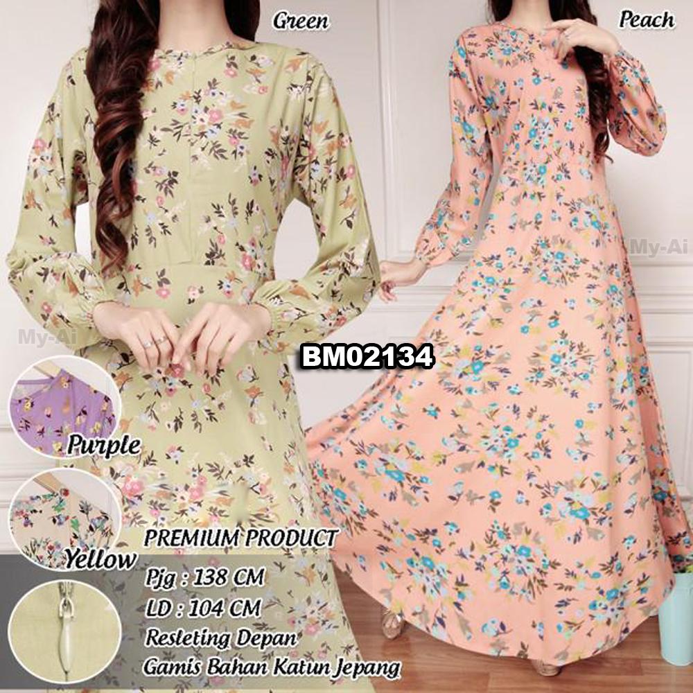 Bursa grosir busana muslim tanah abang bm02134 dress Agen baju gamis katun jepang