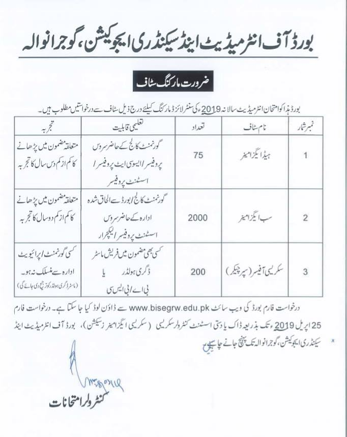BISE GRW Jobs 2019, Paper Checking Jobs in BISE Gujranwala 2019 April www.bisegrw.edu.pk