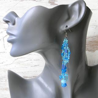 Голубые фриформ-серьги Beadwork freeform beaded earrings