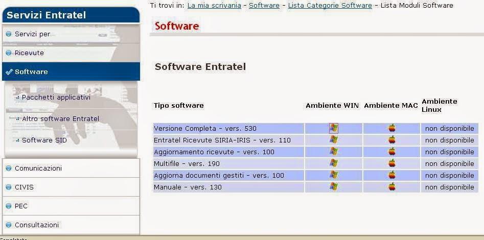 aggiornamento software entratel