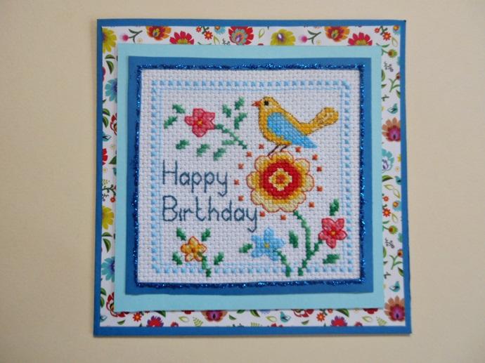 haftowana kartka urodzinowa