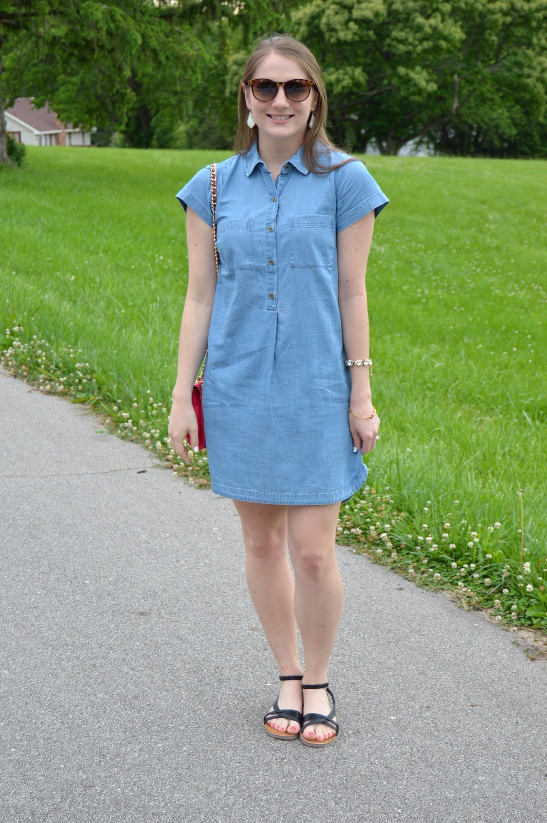 how to style a chambray dress for summer | what to wear with a chambray dress | light wash chambray dress | what looks good with chambray | chambray styling ideas | summer lookbook | summer outfits | a memory of us