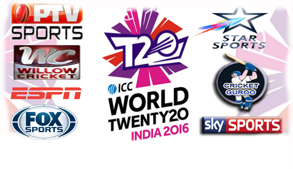 T20 World Cup 2016 Live TV Channels Broadcasters List