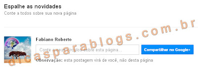 divulgar pagina do google plus