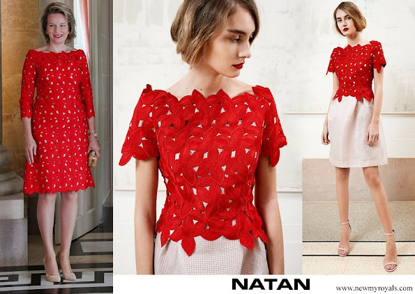 Queen Mathilde wore Natan lace dress from Spring Summer 2018 collection