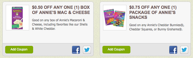 Annie's Homegrown Coupons: Mac & Cheese and Annie's Snacks